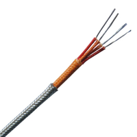 Fiberglass insulated thermocouple extension wire with metal overbraid-- Duplex pairs, round