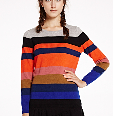 PK17B036F Fashion Stripe Women Cashmere Pullover