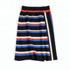 P18B064BE women's summer silk cashmere short sleeve sports fashion striped sweater and skirt suits