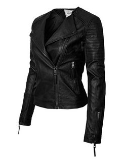 Women's Long Sleeve Zipper Closure Moto Biker Leather Jacket
