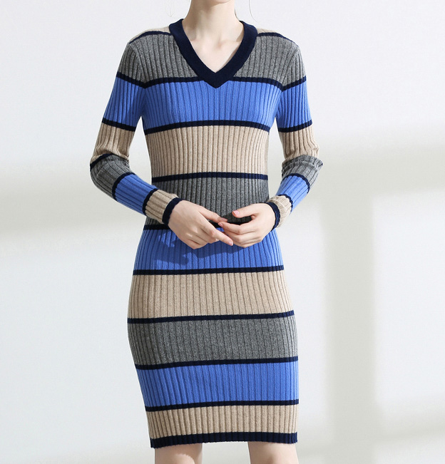 PK18ST079 Colour Stripe Well Fitted Women Dresses Sweater Fashion Dress Cashmere Sweater