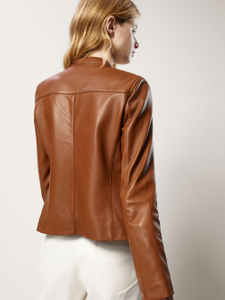 P18E037BW Fashion Lamb Nappa Brown women Leather Jacket, High Quality Leather Jacket,Lamb