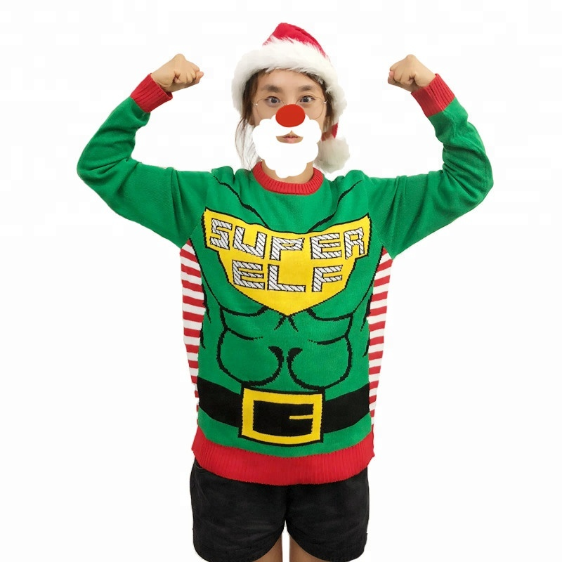Unisex adults OEM polyester or acrylic funny christmas jumper sweater