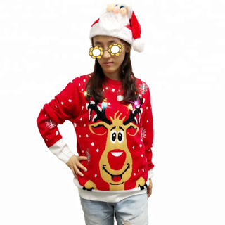 Women adults OEM hot acrylic LED lights ugly christmas jumper sweater
