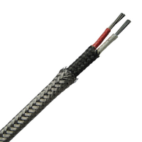 Fiberglass insulated thermocouple wire and extension wire with metal overbraid-- Single pair, Flat