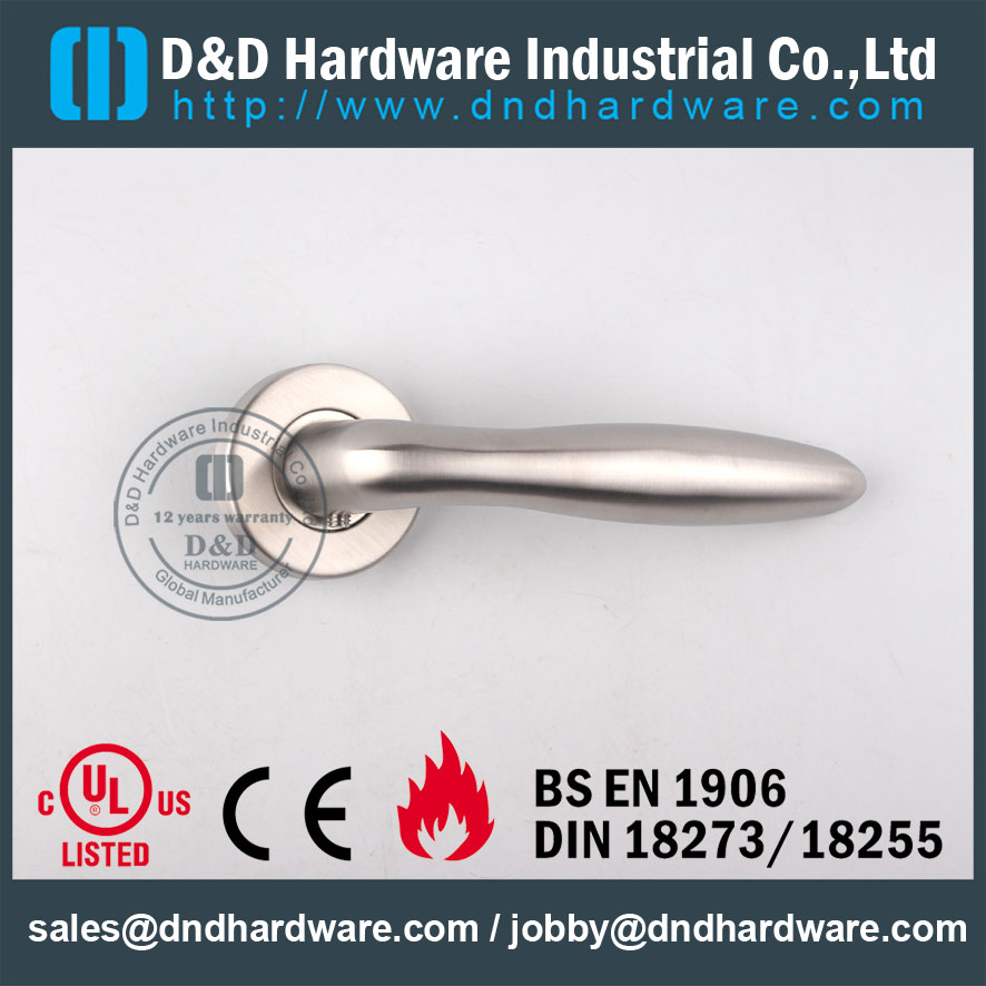 SS316 Interno Chrome Lever Handle Door Soldagem Oco para Hotel Único Porta-DDTH036