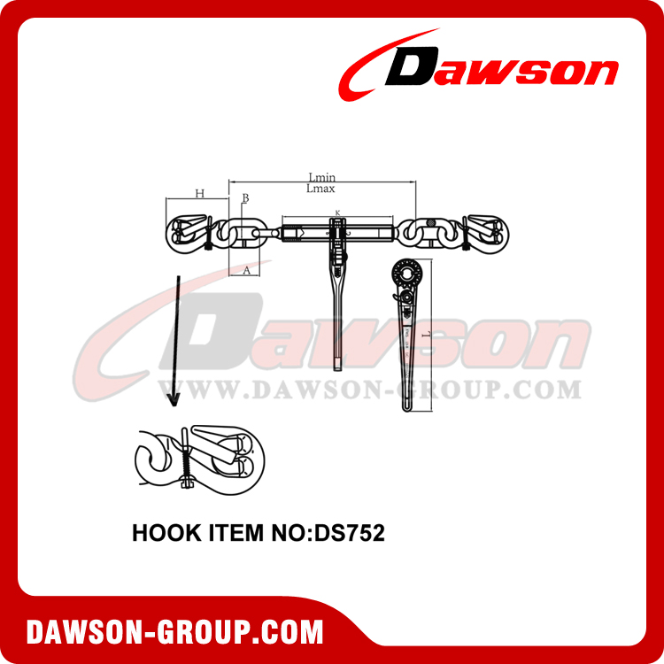 DS670 G80 RATCHET BINDER WITH SAFETY HOOKS dawson