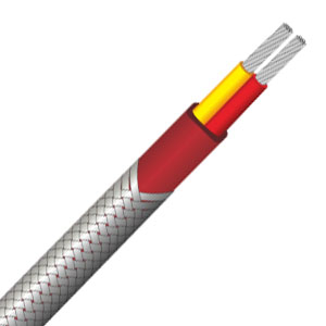 PFA insulated thermocouple wire with stainless steel overbraid--Single pair, flat
