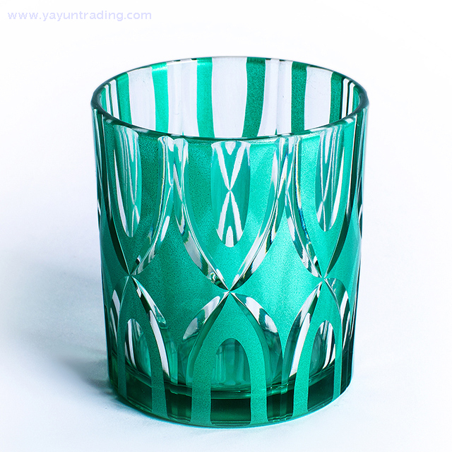 flat bottom green colored glass candle jar for decoration
