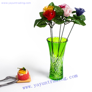 green cut to clear artificial glass flower vase