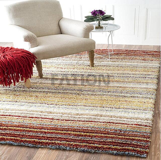 5'×8' Polyester Red Multi Shaggy Carpet Home Area Rug