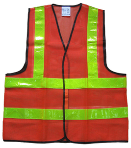 Red mesh reflective safety working vest in China