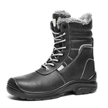 HS133 high ankle genuine leather pu sole winter safety boots