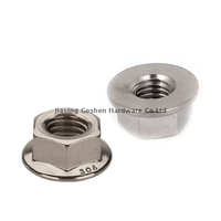 m10 x 1.25 metric stainless steel self locking non serrated flange nut for angle grinder
