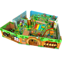 Jungle Themed Amusement Kids Indoor Playground with Ball Pit and Playhouse