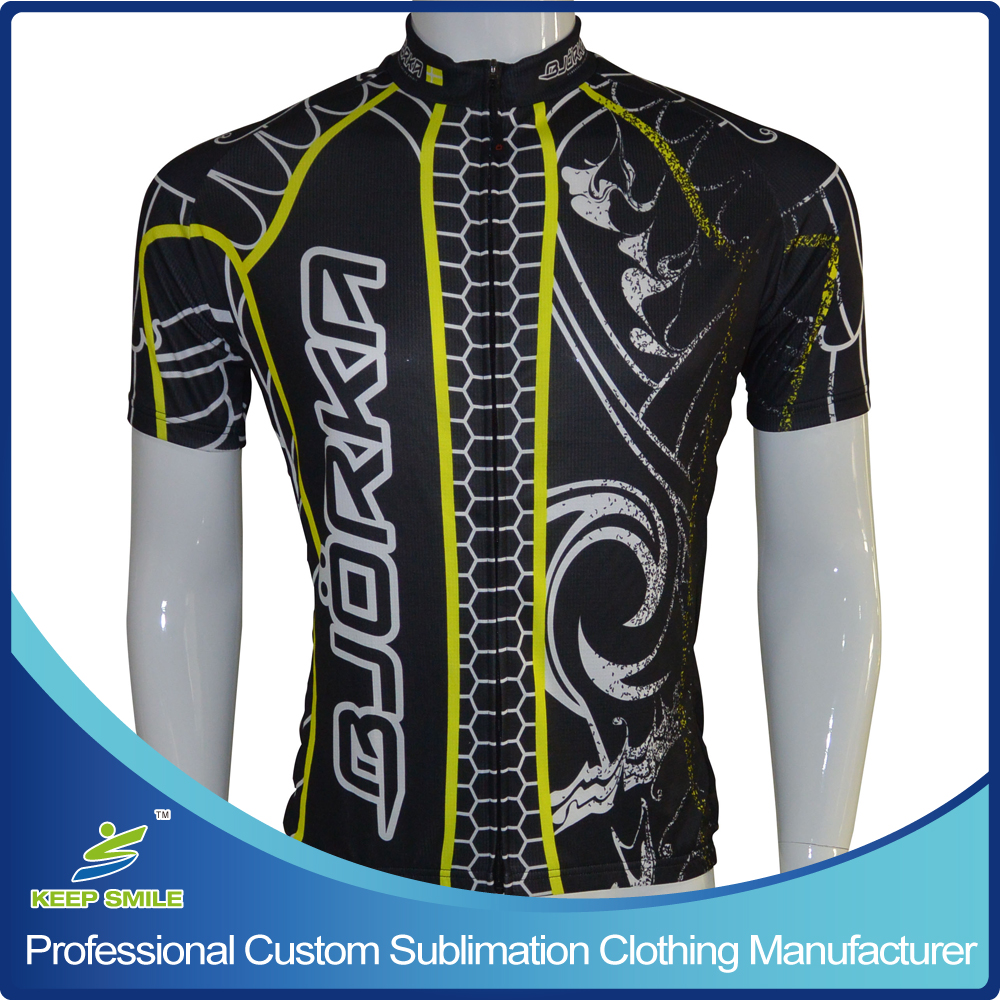 Custom Made Digital Sublimation Printing Neon Color Cycling Jersey
