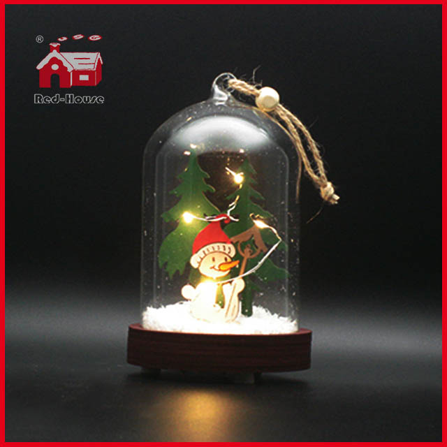 Christmas Glass Dome with Base Glass Made LED Decoration Glass Balloon Decoration Glass Giftware