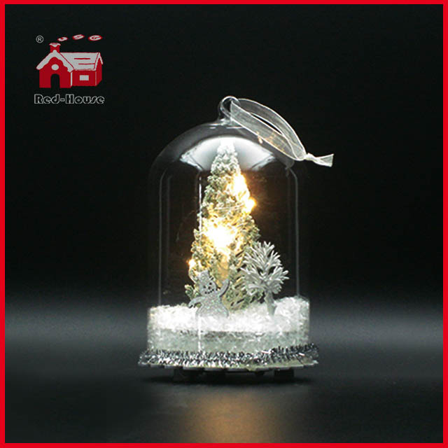 Glass Dome Christmas LED Glass Decoration Thin Bottom Glass Dome Decoration Glass GIftware