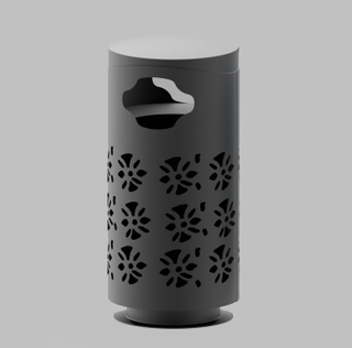 Delicate Outdoor waste bin with flower HW-516