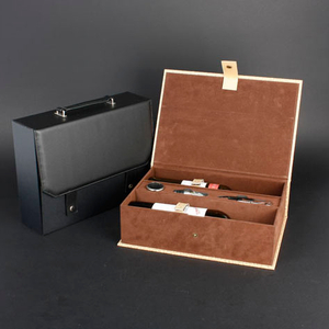 Wine Box Manufacturer White PU leather wooden whisky box