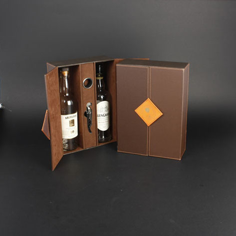 Wine Box Manufacturer Brown PU leather wine gift