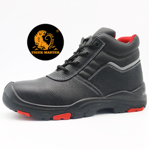 Anti Slip Black Leather Oil Field Safety Shoes Steel Toe Cap