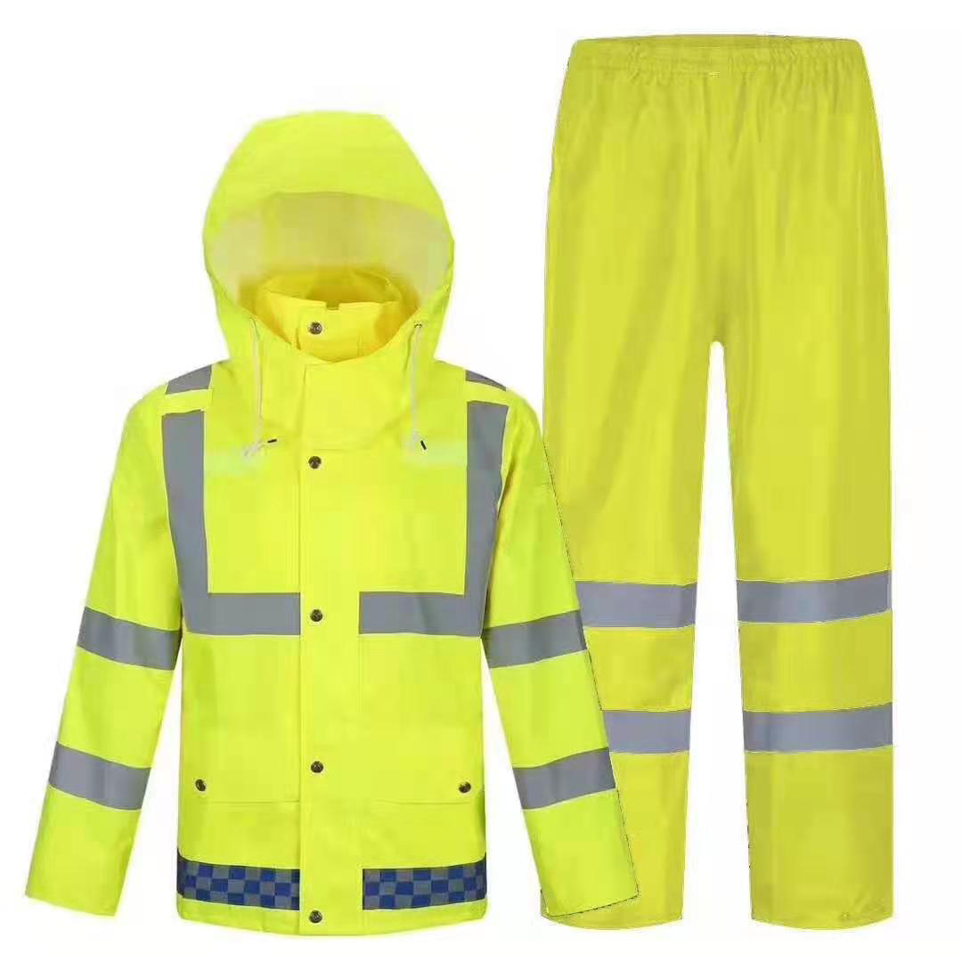 Yellow Polyester PVC Coating Reflective Raincoat Waterproof Rainsuit
