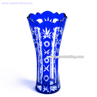 cobalt blue hand engraved elegant glass flower vase