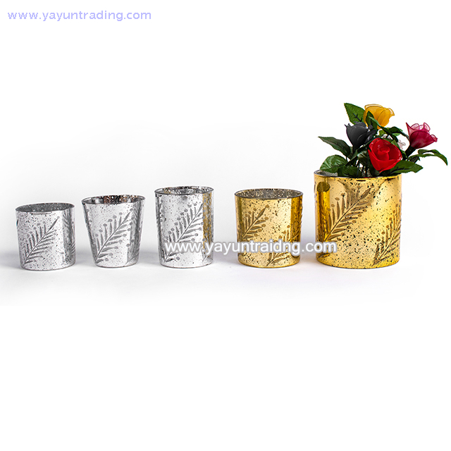cylindrical electroplated gold glass candle shade for Christmas day
