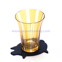 customized handmade short glass drinking cup with natural slate coaster