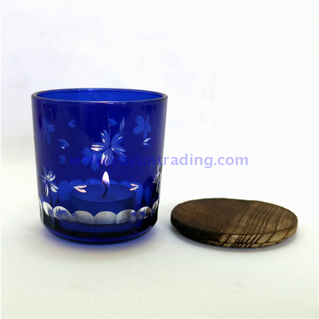 home decoration glass candle holder with wooden lids