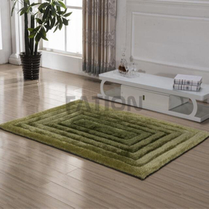 Fashion Fluffy Shag Rug Green 3D Design Floor Carpet