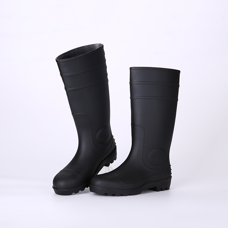 Cheap black pvc rain boots with steel toe and steel plate