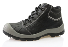 2017 new Microfiber leather black steel toe safety shoes