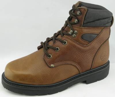 MF782-1 brown flower leather safety boots for workers