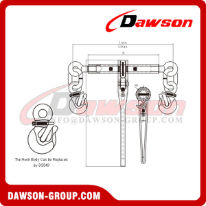 DS753 G80 Ratchet Binder with Safety Hooks to EN 12195-3, Grade 80 Ratchet Type Load Binder