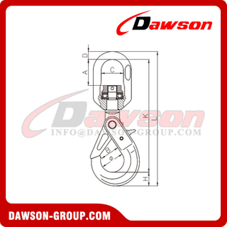 DS490 G80 / Grade 80 Swivel Self-Locking Hook With Bearing for G80 Chains