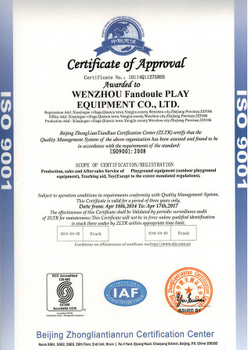 ISO cerficate of Kids Playground Equipment