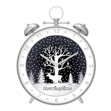 Snowing Christmas Alarm Clock Shape Home Decor Clock