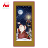 (WP080ST5-Y-JR) 2019 New Design Christmas Ornaments with Wooden Frame for Wall Plaque Art