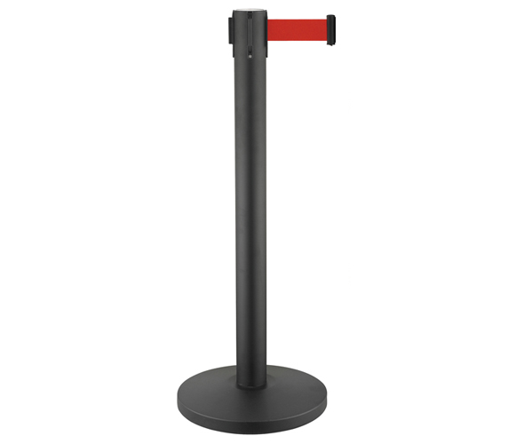 Black Painting Retractable Belt Crowd Control Stanchions for Train Station