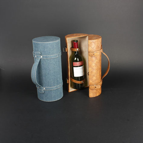 Wine Box Manufacturer Brown PU leather funny wine bottle holder