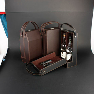 Wine Box Manufacturer PU leather wood wine holder