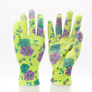 Polyester Liner Knitted Wrist Fashionable Nitrile Floral Gardening Gloves