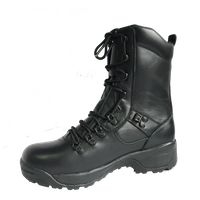 black full grain cow leather military ranger boots