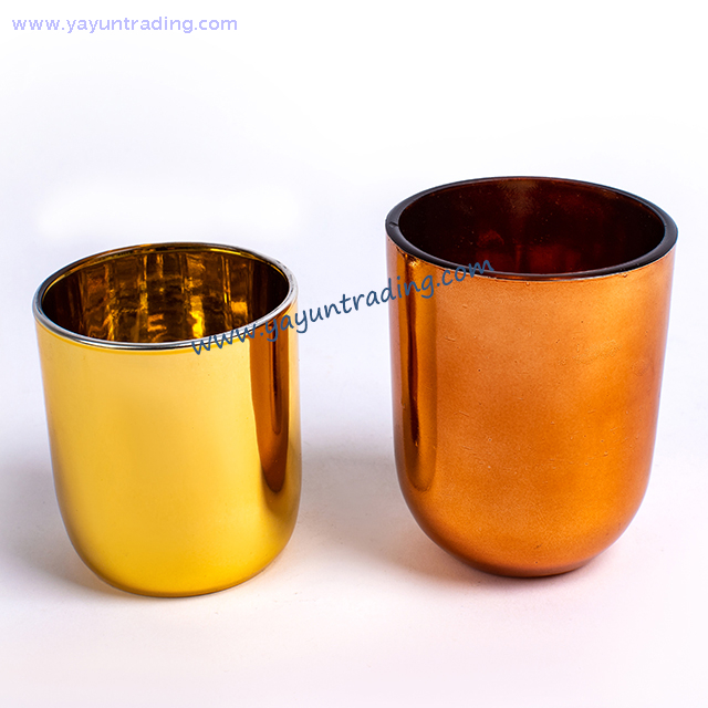 Wholesale Electroplated Glass Candle Jar with Different Color Lid for Wedding And Decoration