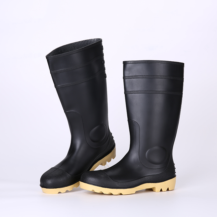 Black upper nitrile sole mens pvc safety rain boots