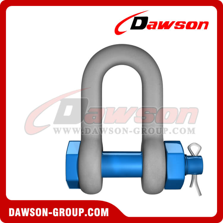 Dawson Brand Hot Dip Galvanized US Type Chain Shackle with Safety Pin, S6 Bolt Type Dee Shackle
