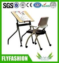 cheap drawing table training chair with wheels (SF-34F)