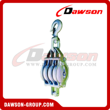 DS-B018 Malleable Iron Shell Block For Manila Rope Triple Sheave With Swivel Hook